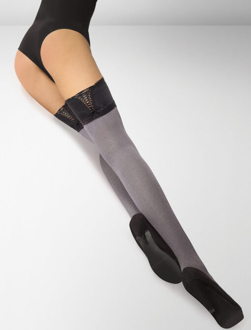 Ferrara 80 Denier Hold Ups Perfect Fit - Light Melange / Black Accent