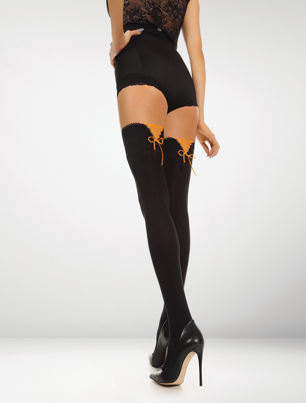 Bologna 80 Denier Hold Ups Perfect Fit - Black / Orange Delight