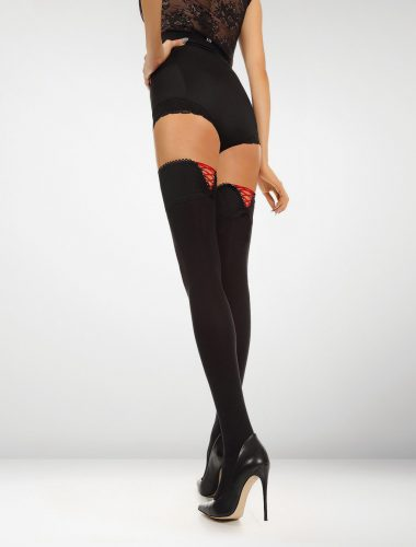 Ferrara 80 Denier Hold Ups Perfect Fit - Black / Red Accent