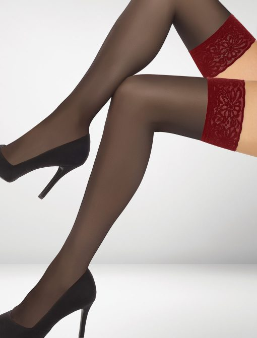 Pedua 20 Denier Hold Ups - Black & Red
