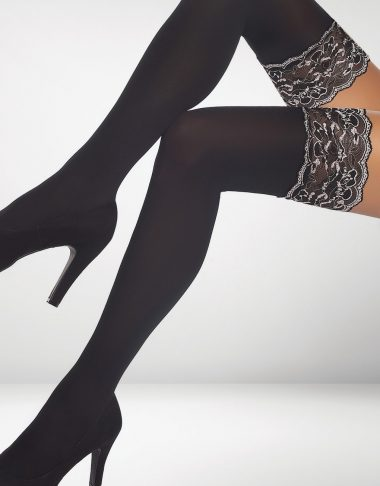 Vicenza 40 Denier Hold Ups - Black